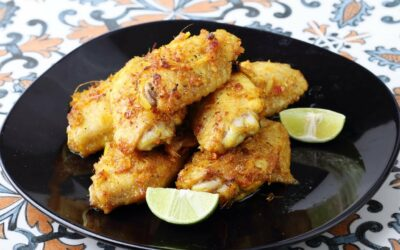turmeric fried chicken with paprika for spicy taste
